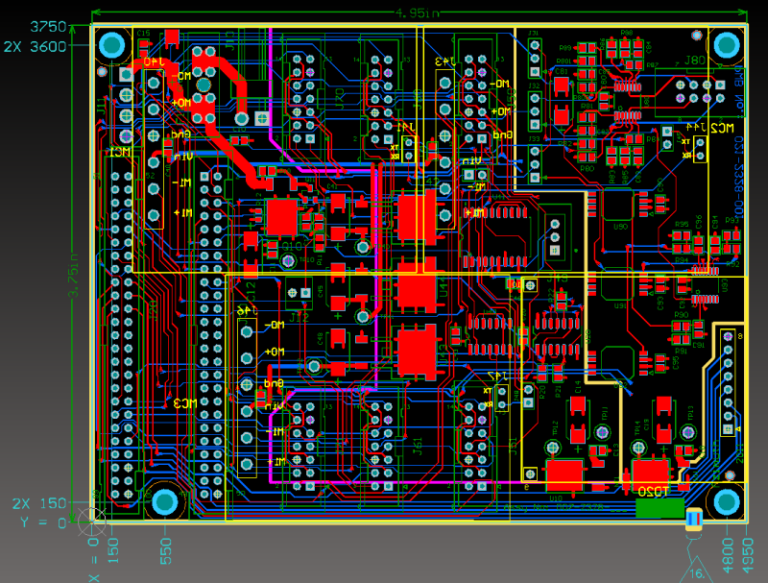 2D design view of main board
