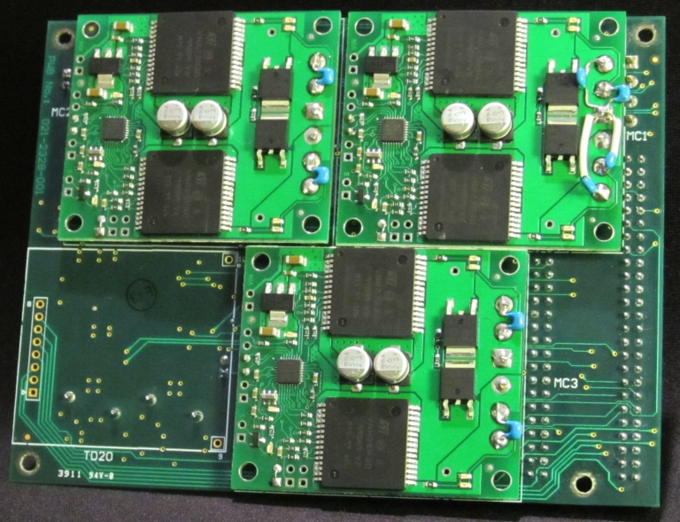 Mixed analog and digital, bottom side showing prototyping adaptions and COTS modules.