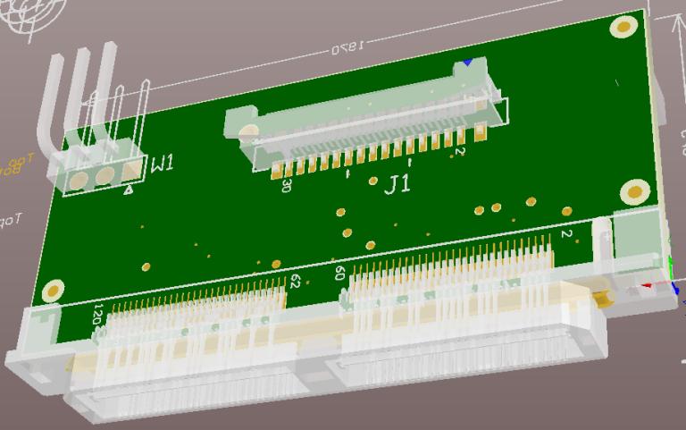 Adapter board - 3D design view - bottom