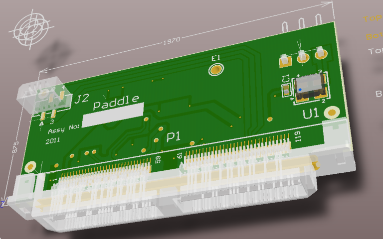 Adapter board - 3D design view - top