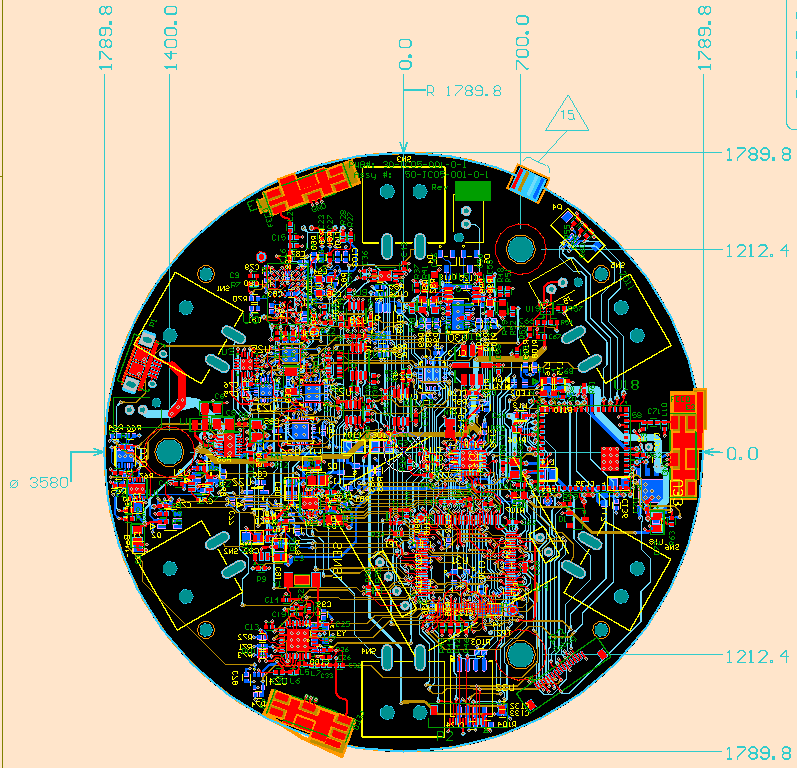 Round multi-function board, Bluetooth, ANT and WiFi radios, power supplies, digital signal processing and ultra sound - 2D design view - top.