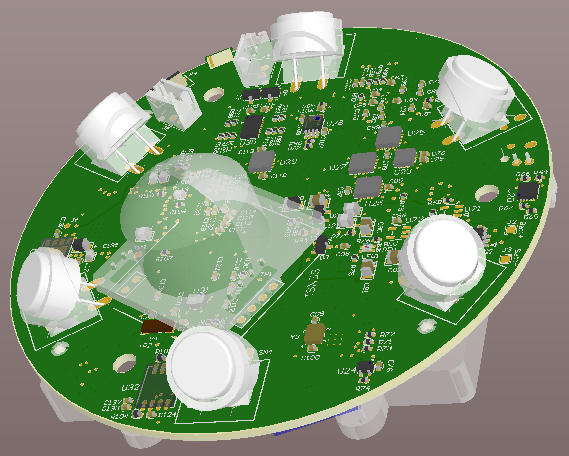 Round multi-function board, Bluetooth, ANT and WiFi radios, power supplies, digital signal processing and ultra sound - 3D design view - bottom.