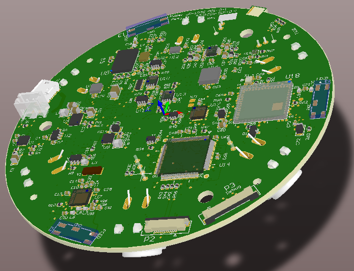 Round multi-function board, Bluetooth, ANT and WiFi radios, power supplies, digital signal processing and ultra sound - 3D design view - top