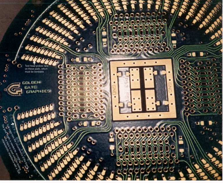 Bottom side of a DUT board, which is the side that contacts the test fixture.