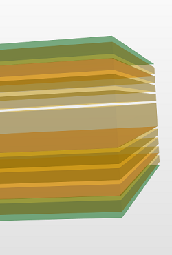 Stack-up 10 layers in CAD 3D perspective showing thick center core